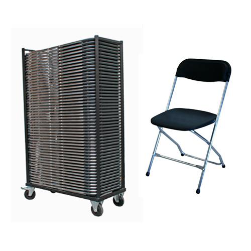 eaa5849e6cc629 AANBIEDING 50 Klapstoelen Chroom Zwart met opslagkar - Meubelfabriek ...