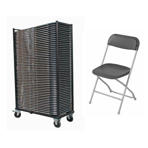 AANBIEDING 50 Klapstoelen vouwstoelen plooistoelen, epoxy frame met transportkar