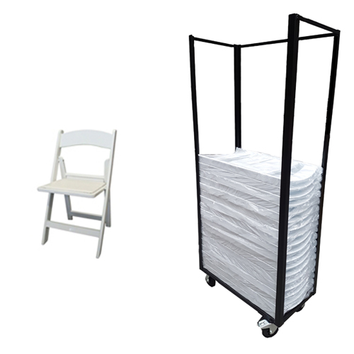 AANBIEDING: Weddingchairs trouwstoelen, all weather chair met transportkar