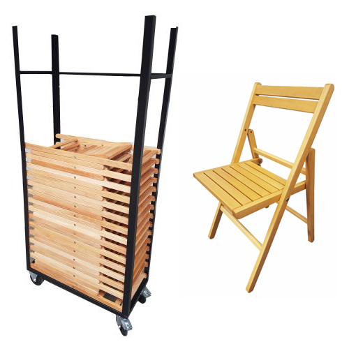AANBIEDING Transportkar met 25 houten klapstoelen, Uit voorraad leverbaar, direct af fabriek. Meubelfabriek Nienhuis BV