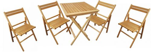 Houten terrasset: klaptafel met 4 houten klapstoelen direct uit voorraad, direct af fabriek. Veel gebruikt bij foodtrucks en evenementen