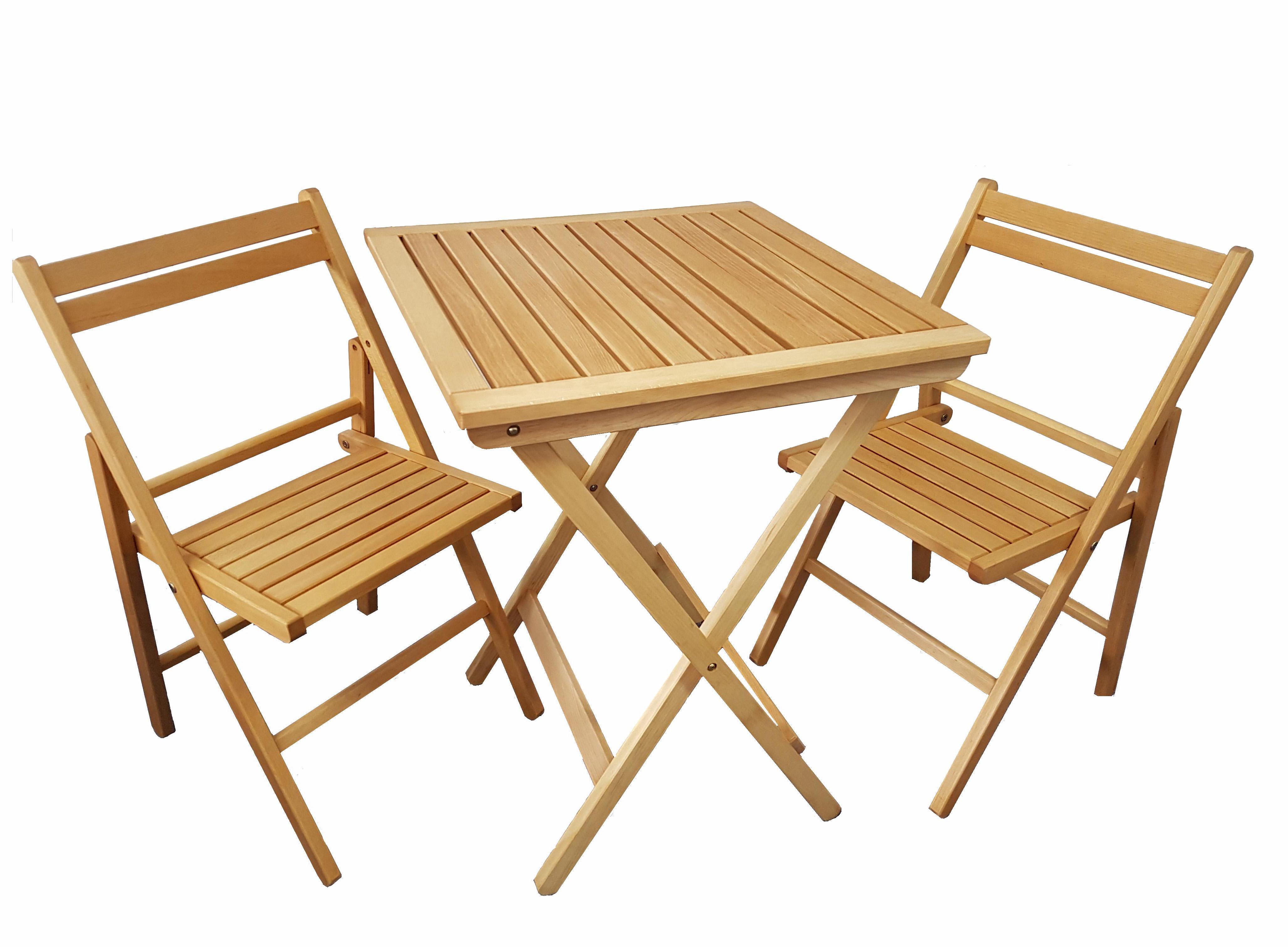 Houten Bistro set klaptafel met 2 klapstoelen